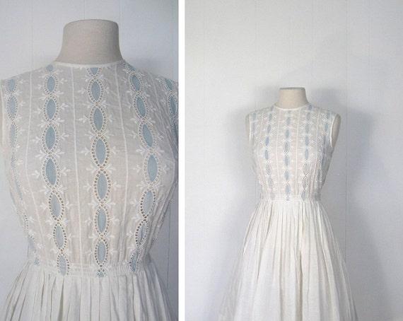 50s Dress / Eyelet Dress / 1950s White Dress / Vintage Summer Dress / XS