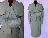 R E S E R V E D 50s Lilli Ann style skirt suit mint sage green shawl collar dyed fox fur