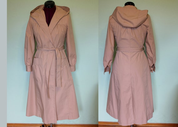 70s princess hooded trench raincoat Bay Mist