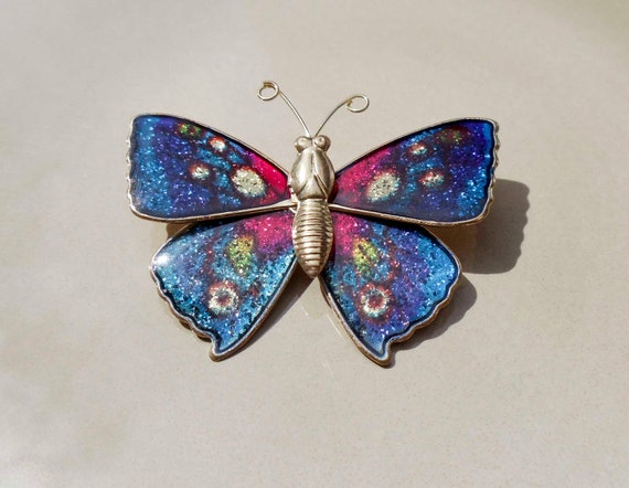 Vintage gold blue butterfly brooch