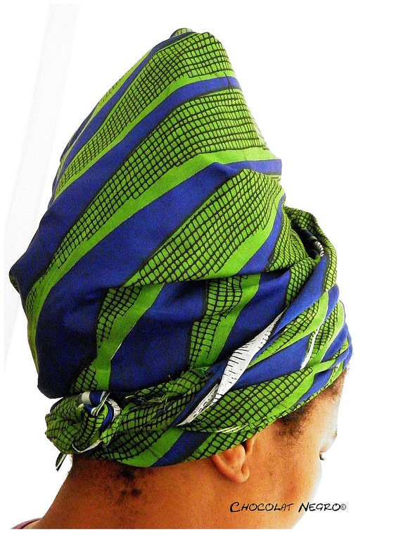 Frog Green - Elegant Head Scraf / Wrap Or Turban made from traditional  African fabric