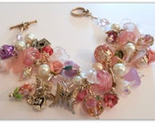 Pink Pastel Shabby Chic Garden Chunky Charm Bracelet