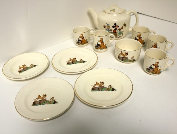Vintage Disney Beswick England Tea Set Childs Mickey Mouse Donald Duck Bambi Pluto