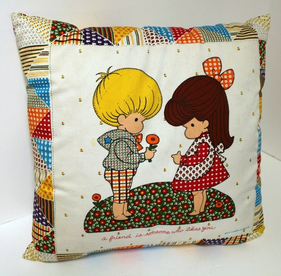 Vintage Friend Pillow Joan Walsh Anglund Someone Who Likes You Patchwork Boy Girl