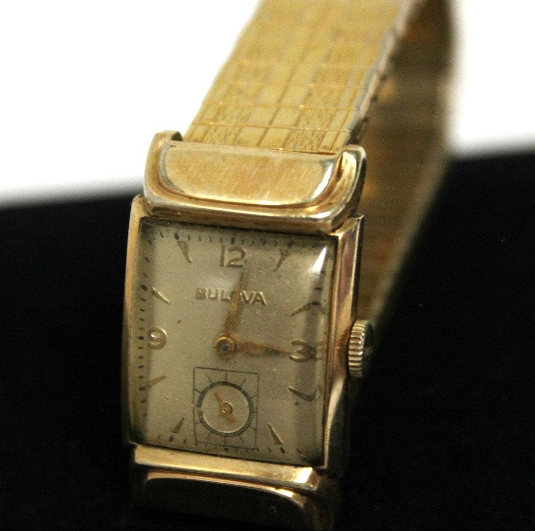 Vintage Bulova Watch Mens Curvex Art Deco Runs 10K GF