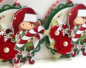 Sweet Christmas Embellishments - Hand Colored Elf Tags - Candy Cane Elf