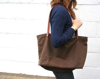 Large Brown Waxed Canvas Market Tote with Red And Stripe Lining