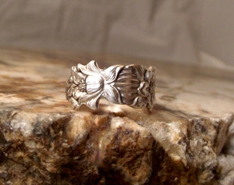 Sterling Silver Spoon Ring - Flowers