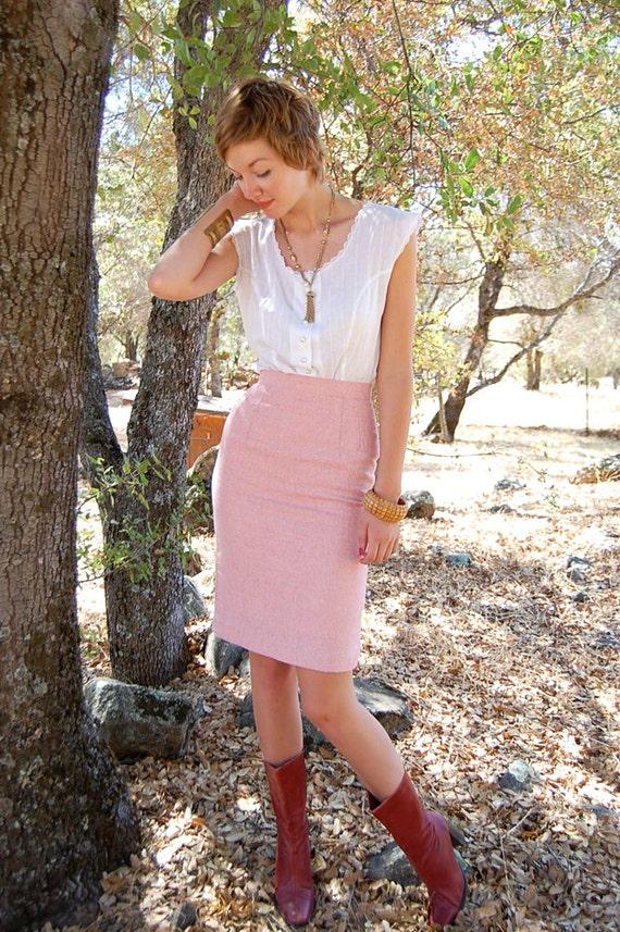 Pencil Skirt Vintage Light Pink Preppy High Waist Pencil Skirt (xs)