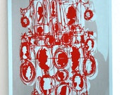 """Cameo - silhouette art print: silver and red on pale blue (8-1/2 x 11"""")"""