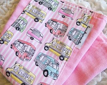 Baby Burp cloth - pink ice cream trucks hand dyed burp cloth