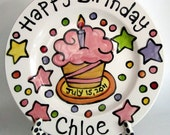 "CUSTOM GIRL PINK cupcake Large 10"" Birthday Cake Plate Personalized colorful happy ceramic"