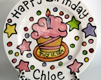 "CUSTOM stars cupcake Large 10"" or 7"" Birthday Cake Plate Personalized colorful happy ceramic"
