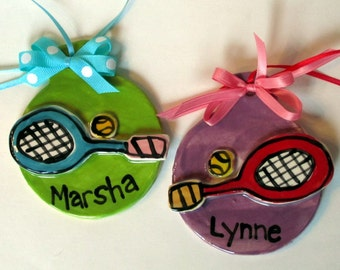 Custom tennis pottery Christmas or team gift ornament personalized pick your color