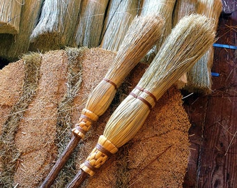 Mother & Daughter Ceremonial Broom Set in your choice of Natural, Black, Rust or Mixed Broomcorn- Witch's Brooms - Sisterhood