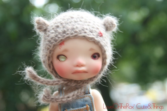 Beige Fluffy Bug Hat for Irrealdoll Enyo and Ino - Fits LatiYellow/PukiFee with wig.