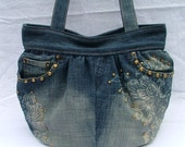 SALE Denim shoulder bag / tote