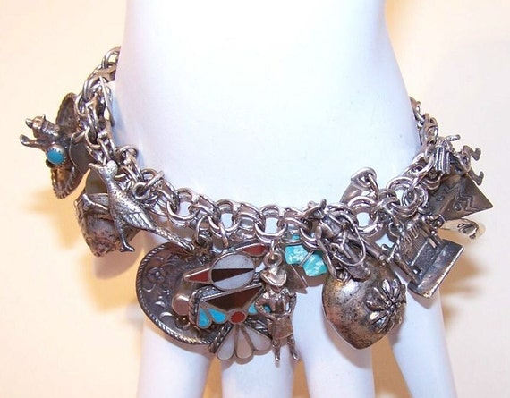 Vintage STERLING SILVER Charm Bracelet with 20 Western Charms - Cowboys & Indians...