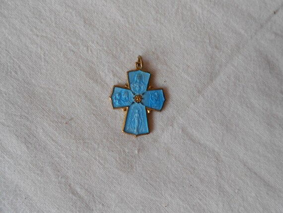 Vintage Blue Enamel Mary or Blessed Mother Pendant Italy