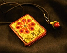 Red Sunflower Petit Point Tapestry Pendant Necklace