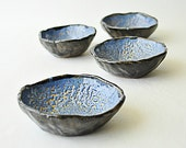 Black and Blue pottery bowls - crawl glaze wabi sabi ceramic dishes (Set of 4)
