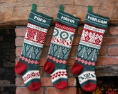 Family collection of personalized Christmas Stockings, green cuffs