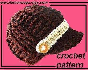 Crochet Pattern, Ribbed Newsboy Hat Pattern, Chunky Crochet Hat Pattern, Brimmed Beanie Hat Pattern num 296
