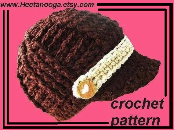 Crochet Pattern Mens Hat With Brim : Crochet Pattern Ribbed Newsboy Hat Pattern Chunky by ...