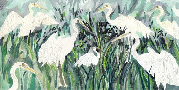 Egrets Marsh Side - Original painting