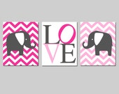 Chevron Elephant Love Trio Nursery Art - Set of Three 8x10 Prints - Choose Your Colors - Shown in Hot Pink, Light Pink, and Gunmetal Gray