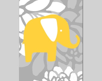 Floral Elephant - 13x19 Print - Modern Nursery Art Decor - CHOOSE YOUR COLORS - Shown in Gray, Yellow and More