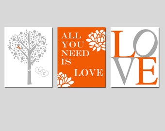 Lovers Tree, LOVE Stencil, All You Need Is Love Quote - Set of Three 8x10 Prints - Choose Your Colors - WEDDING GIFT