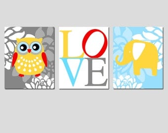 Nursery Art Trio -  Floral Owl, Floral Elephant, Love Typography - Set of Three 11x14 Prints - CHOOSE YOUR COLORS