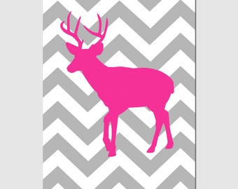 Chevron Deer Silhouette - Nursery Art - Kids Wall Art - 13x19 Print - CHOOSE YOUR COLORS - Shown in Hot PInk, Gray, Yellow, Navy and More