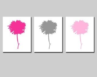 Modern Abstract Floral Trio - Set of Three Coordinating 11x14 Minimalist Modern Prints - CHOOSE YOUR COLORS
