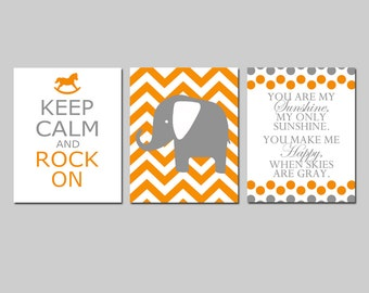 Orange Gray Nursery Art Trio - You Are My Sunshine, Chevron Elephant, Keep Calm and Rock On - Set of Three 11x14 Prints - CHOOSE YOUR COLORS
