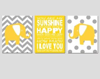 Nursery Art Trio - Set of Three 8x10 Prints - You Are My Sunshine, Polka Dot, Chevron Elephants - CHOOSE YOUR COLORS - Yellow and Gray
