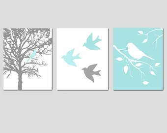 Nursery Art Prints - Modern Bird Trio - Set of Three 11x14 Prints - Nursery Art - CHOOSE YOUR COLORS - Shown in Gray, Pale Aqua, and More