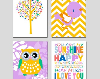 You Are My Sunshine Nursery Art - Set of Four 8x10 Prints - Tree Dot, Chevron Baby Bird, Floral Owl - Kids Wall Art - CHOOSE YOUR COLORS