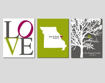 Modern Newlywed Trio - Set of Three 8x10 Customizable Prints - Love, Family Established Bird Tree, State Map - GREAT WEDDING GIFT