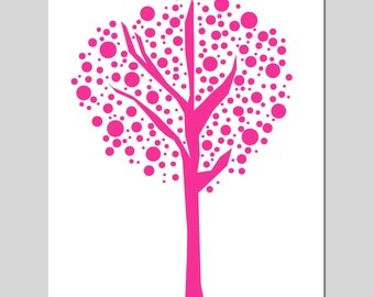 Tree Dot - 8x10 Original Print - Kids Wall Art for Nursery - Abstract, Simple, Geometric - CHOOSE YOUR COLORS - Shown in Hot Pink and More