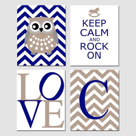 Owl Elephant Love Nursery Art Quad - Set of Four 8x10 Prints - Keep Calm and Rock On, Chevron Monogram, Love - CHOOSE YOUR COLORS