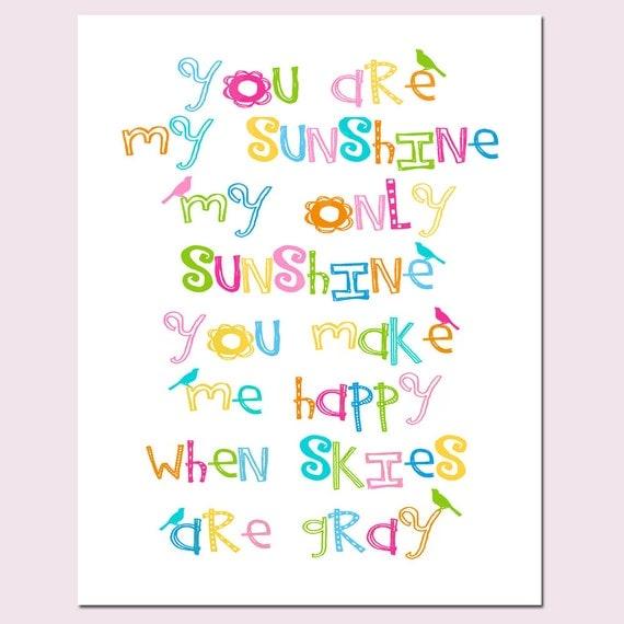 You Are My Sunshine Nursery Decor - 8x10 Nursery Art Bird Print - Kids Wall Art - CHOOSE YOUR COLORS