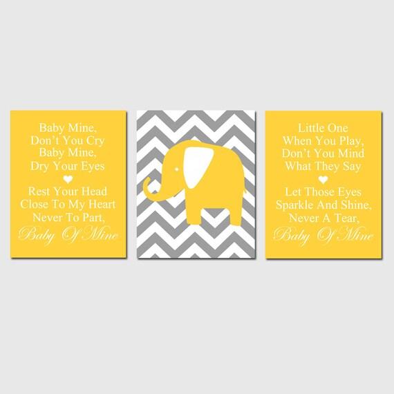 Baby Mine Chevron Elephant - Set of Three 8x10 Nursery Art Prints -  Dumbo Song Lyrics - CHOOSE YOUR COLORS