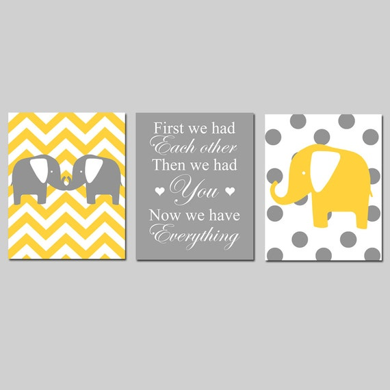 Modern Chevron Elephant Polka Dot Trio - Set of Three 8x10 Nursery Prints - First We Had Each Other, Then We Had You, Now We Have Everything