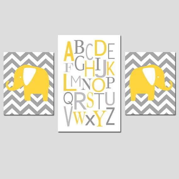 Elephant Alphabet Nursery Art Trio - Set of Three Chevron Zig Zag Prints - 11x14 and 13x19 - Choose Your Colors - Shown in Gray and Yellow