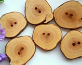 Reserved - 6 Wood Buttons - Flowering Dogwood Tree Branch Buttons.1 7/8 Inches 4.8 cm for Knitting, Crochet, Sewing Projects