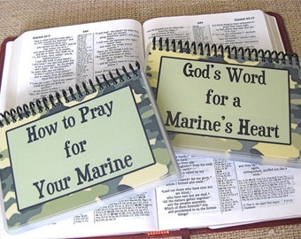 SALE - How to Pray for Your Marine/God's Word for a Marine's Heart - Combo Set, Spiral-Bound, Laminated Prayer Cards/Bible Verse Cards