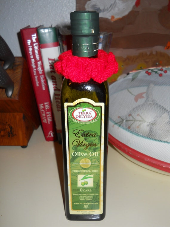 STOP DRIPS New Handknit WINE bottle or Olive Oil sleeve Novelty Gift Stocking Stuffer