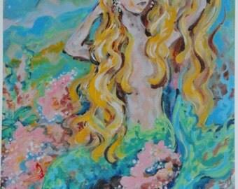 Mermaid Art print 8x10 Blonde hair pink coral